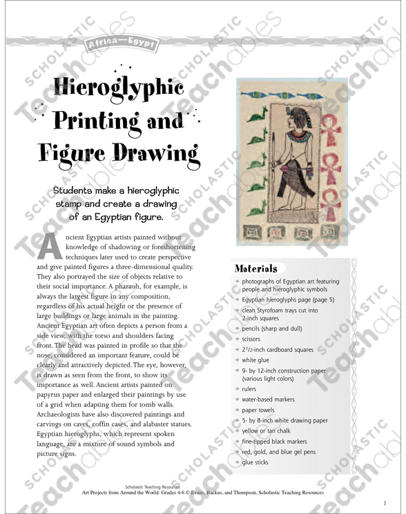 Hieroglyphic Printing and Figure Drawing: Art Project From