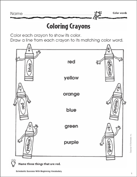 Coloring Crayons (Color Words) | Printable Skills Sheets