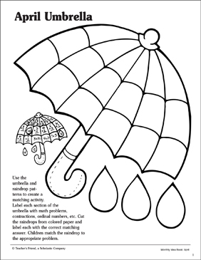 April Umbrella Matching Game - Printable Worksheet