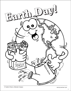 Earth Day Coloring Page - Printable Worksheet