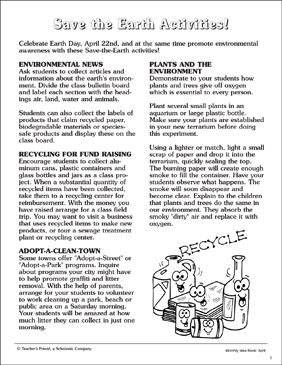 Save the Earth Activities - Printable Worksheet