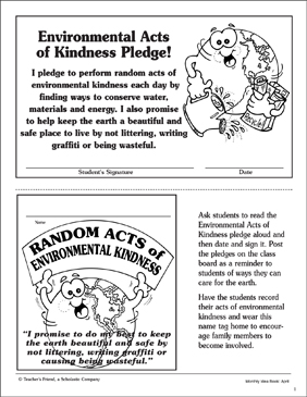 Environmental Acts of Kindness Pledge and Name Tag - Printable Worksheet