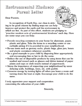 Environmental Kindness: Send-Home Letter - Printable Worksheet