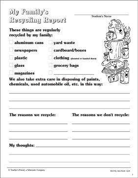 My Family's Recycling Report - Printable Worksheet
