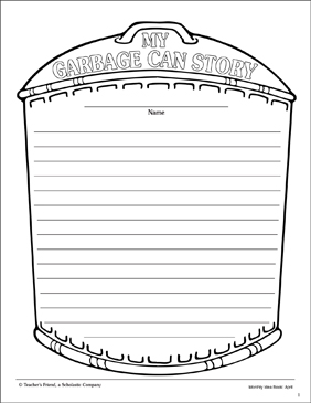 My Garbage Can Story: Lined Stationery - Printable Worksheet