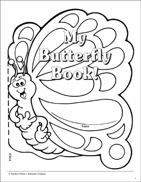 Butterfly Book: Cover Pattern - Printable Worksheet