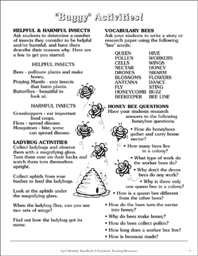 Buggy Activities - Printable Worksheet