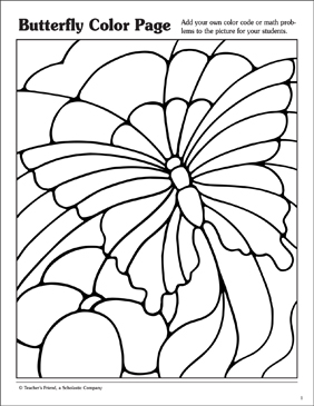 Butterfly Coloring Page - Printable Worksheet
