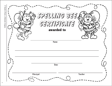 Spelling Bee Certificate - Printable Worksheet