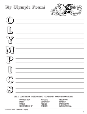My Olympic Poem Acrostic Poetry Frame Printable Skills Sheets