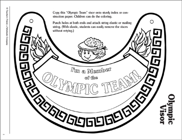 Olympic Team: Visor Pattern - Printable Worksheet