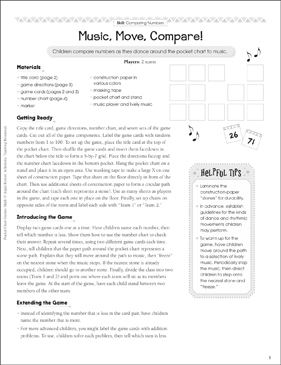 Music, Move, Compare! (Comparing Numbers): Pocket Chart Math Game - Printable Worksheet
