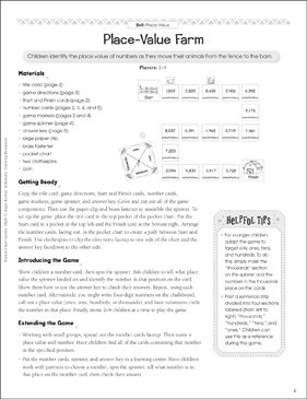 Place-Value Farm (Place Value): Pocket Chart Math Game - Printable Worksheet