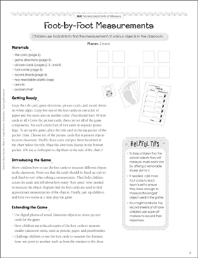 Foot-by-Foot Measurements (Nonstandard Units): Pocket Chart Math Game - Printable Worksheet