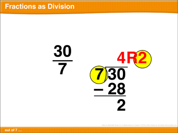 Math Review: Fractions As Division, Rounding, Unlike Denominators, Exponents - Printable Worksheet