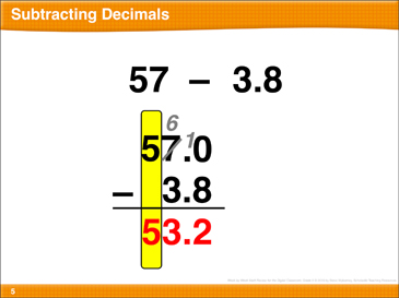 Math Review: Subtract Decimals, Volume, Multiply Larger Numbers, Measurement Units - Printable Worksheet
