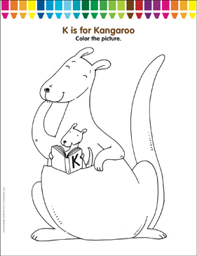 K Is For Kangaroo Coloring Page Printable Coloring Pages