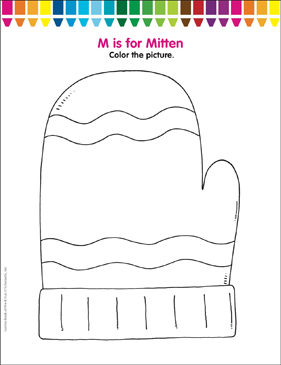 m is for mitten coloring page printable coloring pages printable coloring pages
