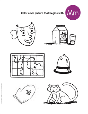 Color the Pictures That Begin With Mm | Printable Skills ...