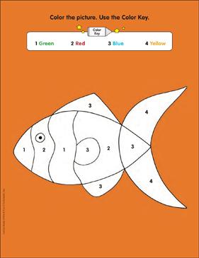 Using A Color Key Fish Following Directions Printable Skills Sheets