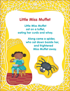 graphic regarding Printable Nursery Rhyme titled Small Miss out on Muffet: Clic Nursery Rhyme Printable Texts
