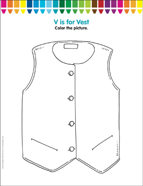 V Is For Vest Coloring Page Printable Coloring Pages