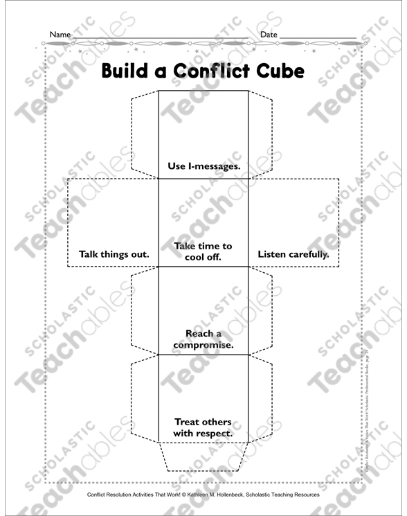 Build a Conflict Cube: Conflict Resolution Activity | Printable Cut ...