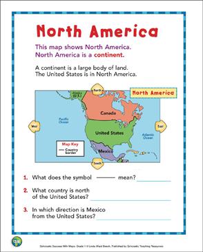 North America: Map Skills (Grade 1) | Printable Maps and ...