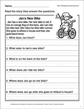 jan 39 s new bike reading comprehension printable skills sheets. Black Bedroom Furniture Sets. Home Design Ideas