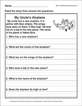 My Uncle S Airplane Reading Comprehension Printable