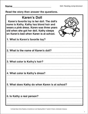 Karen's Doll (Reading Comprehension) | Printable Skills Sheets