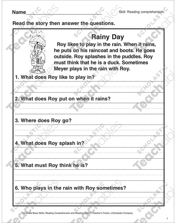 Rainy Day (Reading Comprehension) | Printable Skills Sheets