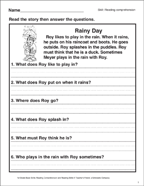 Rainy Day (Reading Comprehension) | Printable Skills Sheets
