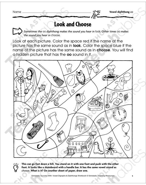 Look and Choose (Vowel diphthong oo)   Printable Skills Sheets and
