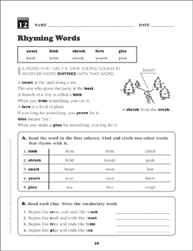 Rhyming Words: Grade 3 Vocabulary | Printable Skills Sheets