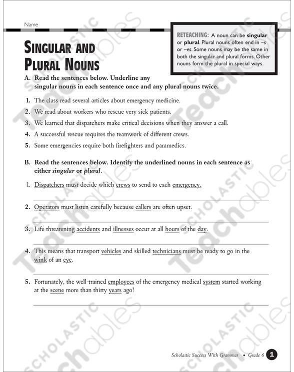 Singular And Plural Nouns (Grades 5-6) Printable Test Prep And Tests,  Skills Sheets