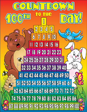 picture relating to 100 Day Countdown Printable named Countdown towards the 100th Working day of College: Chart Printable