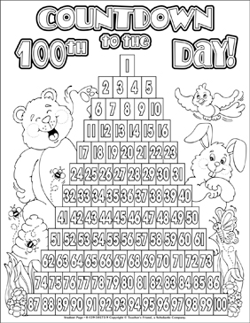 hundreth day coloring pages - photo#4