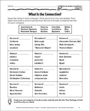 what is the connection social studies vocabulary categories printable skills sheets. Black Bedroom Furniture Sets. Home Design Ideas