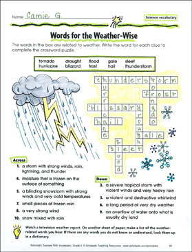 photograph regarding Science Crossword Puzzles Printable named Phrases for the Climate Sensible (Science Vocabulary) Printable