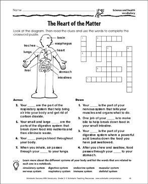 picture regarding Science Crossword Puzzles Printable identified as The Center of the Make a difference (Science and Fitness Vocabulary