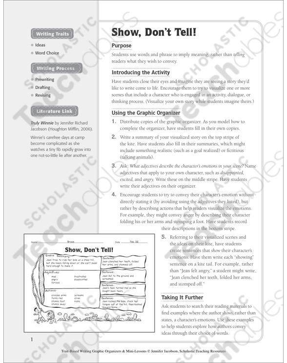 Show Dont Tell Ideas And Word Choice Graphic Organizer Mini