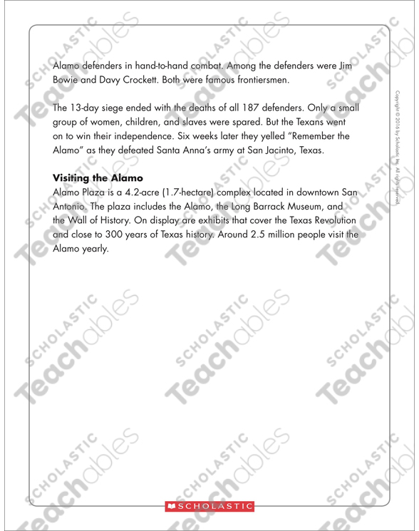 The Alamo: Text & Organizer | Printable Texts and Graphic ...