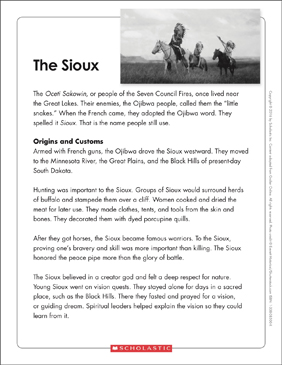 The Sioux: Text & Organizer - Printable Worksheet