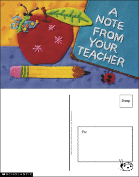 A Note From Your Teacher Card - Printable Worksheet