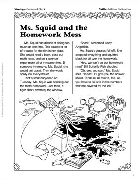 Ms. Squid and the Homework Mess (Add/Subtract) - Printable Worksheet