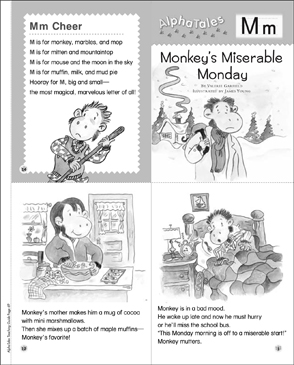 Monkey's Miserable Monday (Letter M): Alpha Tale - Printable Worksheet