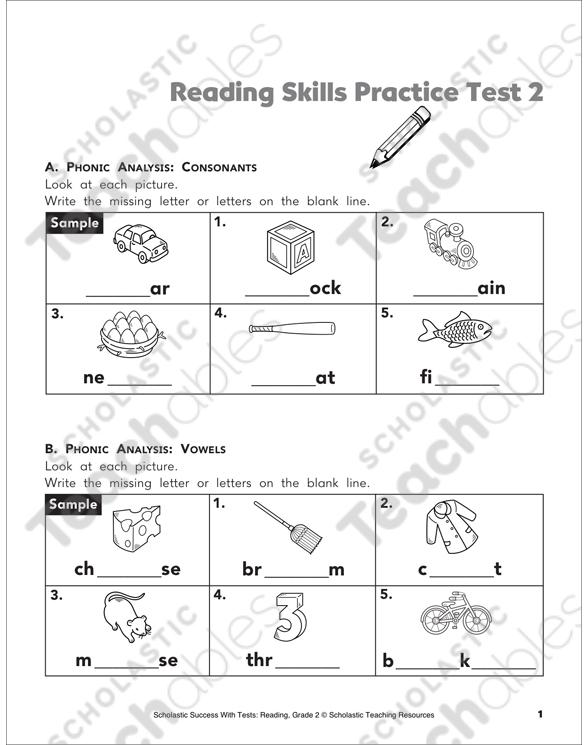 Reading Skills Practice Test 2 Grade 2 Printable Test