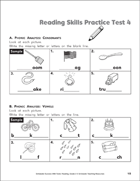 Reading Skills Practice Test 4 (Grade 2) - Printable Worksheet