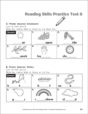 Reading Skills Practice Test 6 (Grade 2) - Printable Worksheet
